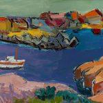 "Pierre Ambrogiani,""La jetée de Carrro"", huile sur toile, 92 x 65 cm"