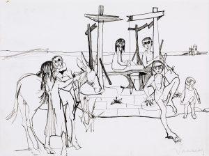 "Jean Jansem, ""La famille"", dessin à la plume, circa 1950, 25 x 32 cm."
