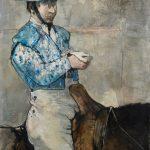 """Jean Jansem """"Le picador bleu"""", huile sur toile, circa 1971, format : 130 x 97 cm"""