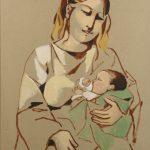 """Manolo RUIZ PIPO, """"Maternité""""huile sur carton, 60 x 76 cm"""