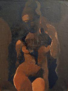 """Manolo RUIZ PIPO , """"Nu cubiste"""" , HSPmarouflé, 65 x 50 cm"""