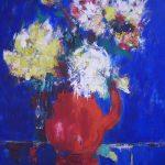 """Bernard LORJOU, """"Bouquet sur fond bleu"""",HST,92 x 73 cm,circa 1955"""