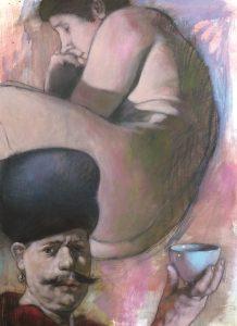 Kurt Mair - huile sur papier marouflée/bois - format : 73 x 54 cm - prix : 2 300 €