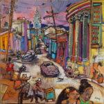 Les petits remous de la rue Hérédia - acrylique sur toile - format 80 x 80 cm