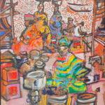 Tofinu boubous - acrylique sur toile - format 33 x 24 cm