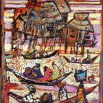 """""""Les pirogues du lac Nokoué - acrylique sur toile - format 33 x 24 cm"""
