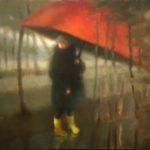 """Berg,""""Le parapluie rouge"""", huile sur toile, 60 x 100 cm"""