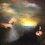 """Berg """"L'heure exquise"""", huile sur toile, 100 x 100 cm"""